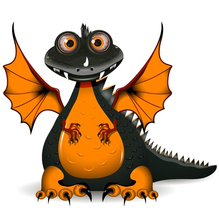 cartoon new: illustration a funny black dragon the symbol of the year