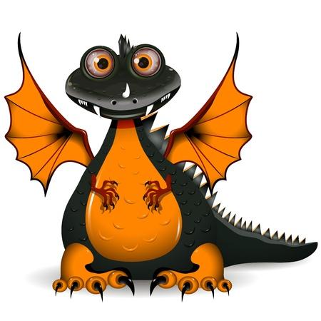 estola: ilustraci�n de un drag�n negro gracioso el s�mbolo del a�o
