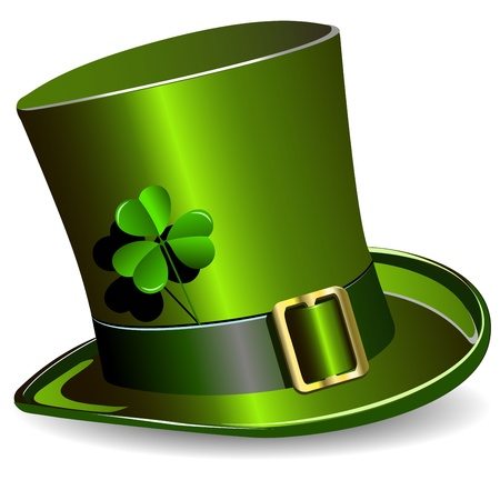 lucky day: illustration, green St. Patricks Day hat with clover Illustration