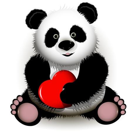 �  giant panda: ilustraci�n curioso oso panda rojo con el coraz�n en las patas