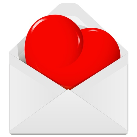 illustration, symbolic red heart in the envelope Vector