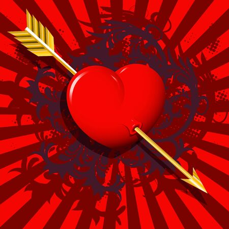 illustration, red heart on a red background with a boom Stock Vector - 11970312