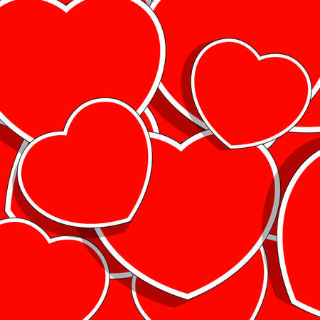 illustration, the background of the abstract red hearts Vector