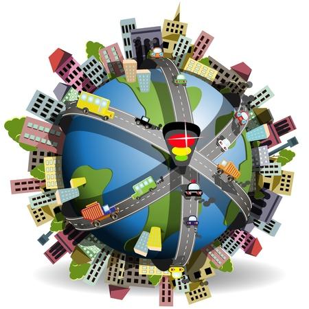 illustration, globe bleu dans le r�seau des autoroutes