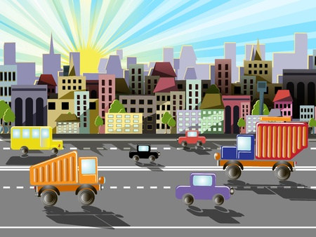 illustration abstraite d'une ville sur le fond