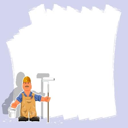 decorando: ilustraci�n de un pintor con un rodillo y pintura blanca