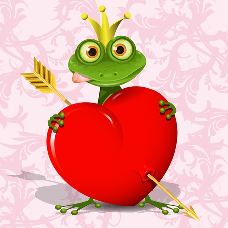 frog in love: abstract illustration of the frog princess with the heart