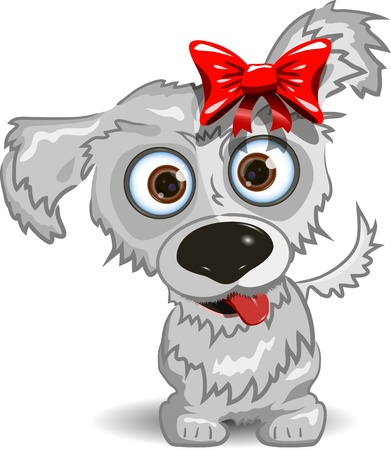 illustration, a merry little dog with a red bow