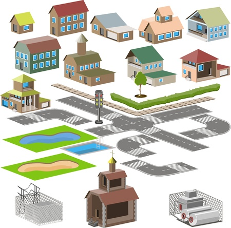 set of icons city map with the national team dear Vector