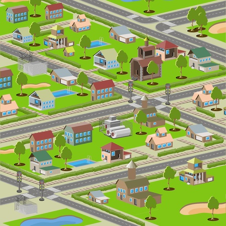 abstract illustration, the highways in a small town Vector