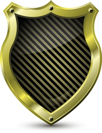 protect money: illustration of an abstract metallic golden shield