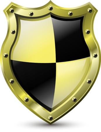 specials: illustration of an abstract metallic golden shield