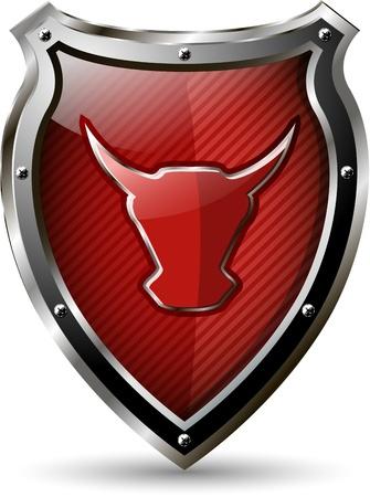 illustration d'un bouclier métallique abstraite avec le taureau rouge Vecteurs