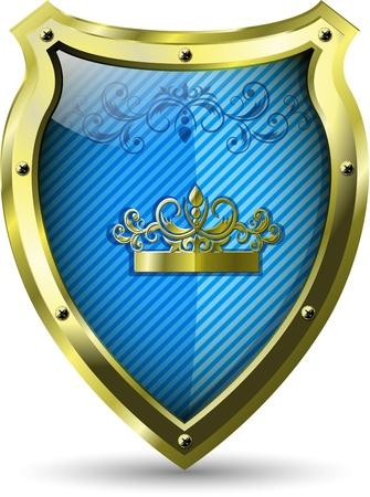 specials: illustration of an abstract metallic blue shield Illustration