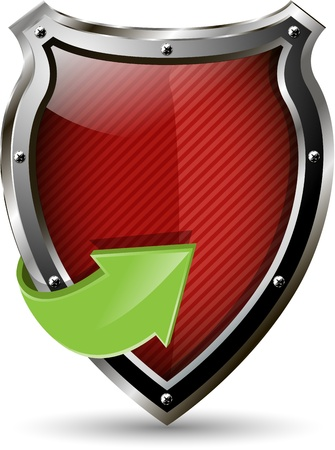 specials: illustration of an abstract metallic red shield Illustration