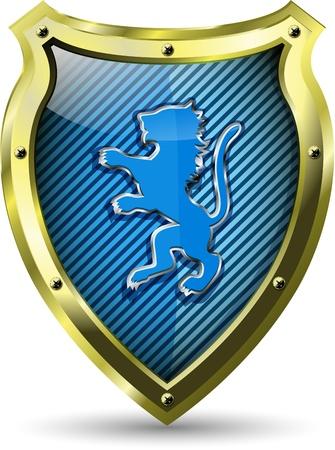 badge shield: illustration of an abstract metallic shield with a lion