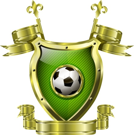 golden field: illustration of an abstract metallic shield with soccer ball