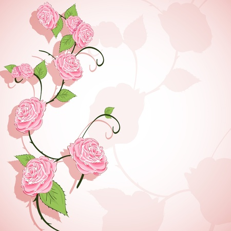 illustration of abstract floral background with roses Vector