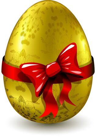 uova d oro: illustrazione di un uovo d'oro con un modello di nastro rosso Vettoriali