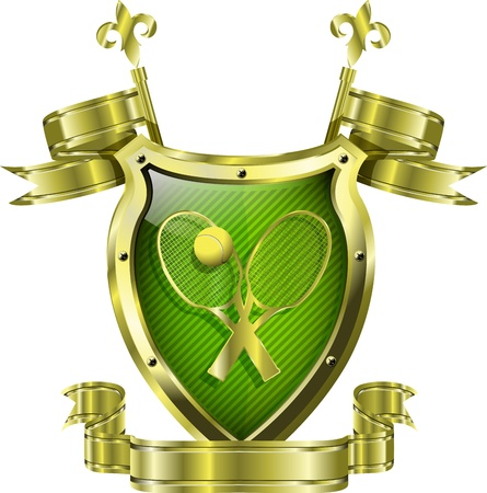 pointer emblem: illustration of an abstract metallic shield with tennis ball Illustration
