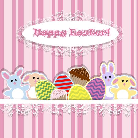 illustration of abstract background with Easter bunnies Stock Vector - 12773819