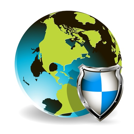 illustration of a blue shield for the Globe Vector