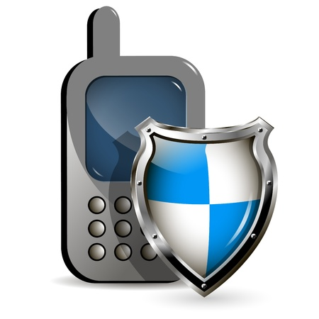 illustration of the phone and a metallic shield Vector