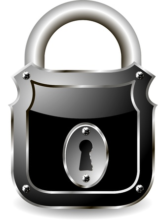 illustration of a metal padlock with a black Stock Vector - 12773829