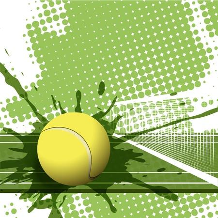 tenis: ilustración de una pelota de tenis sobre fondo verde resumen