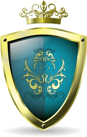 illustration of an abstract metallic blue shield Vector