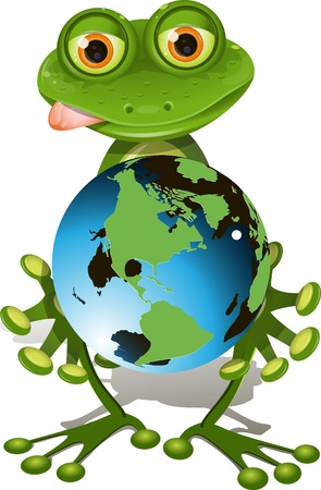 triton: illustration, merry green frog with blue globe Illustration
