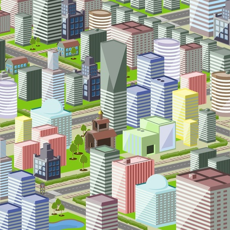 illustration of a modern city with high Vector