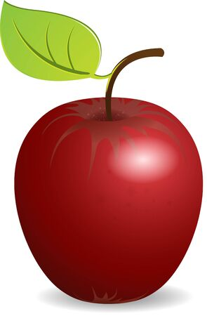 illustration brightly red apple with green sheet on white Vector