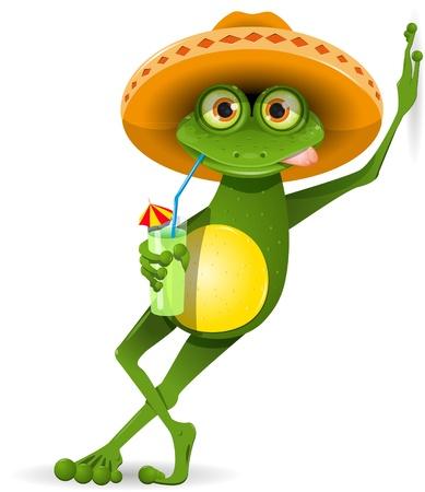 лягушка: зеленая лягушка в сомбреро и коктейль Иллюстрация