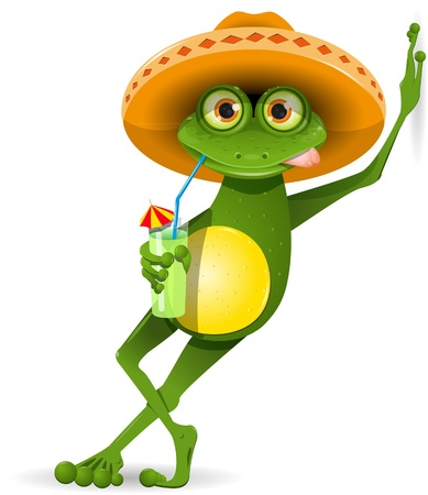 green frog in a sombrero and a cocktail Illustration