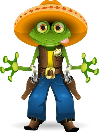 gecko: illustration of a frog dressed as sheriff