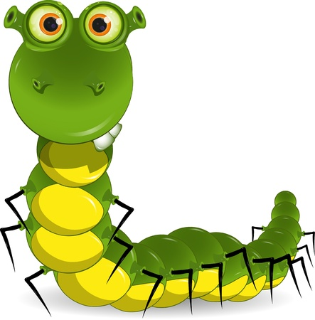 illustration of a green worm with big eyes Vector
