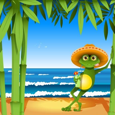Illustration a frog on sandy to seacoast Illustration