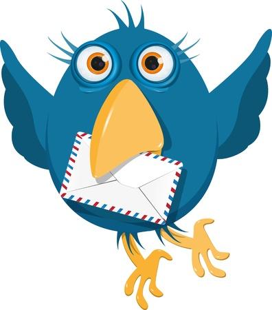 aves caricatura: ilustración pájaro azul con un sobre blanco Vectores
