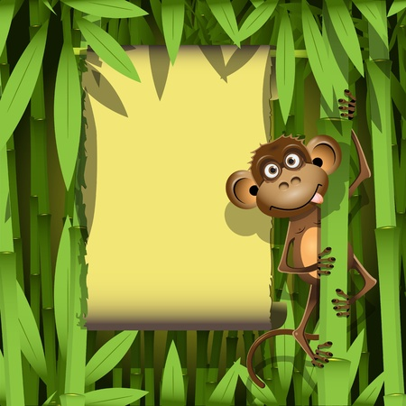 cute cartoon monkey: illustration, a brown monkey in the jungle