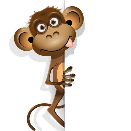 ilustración, un mono de color marrón sobre un fondo blanco