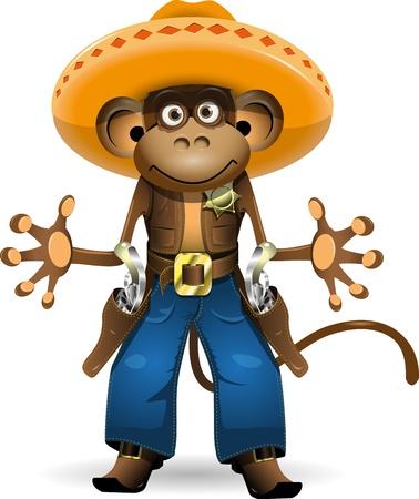 sombrero: illustratie van een aap in een pak sheriff