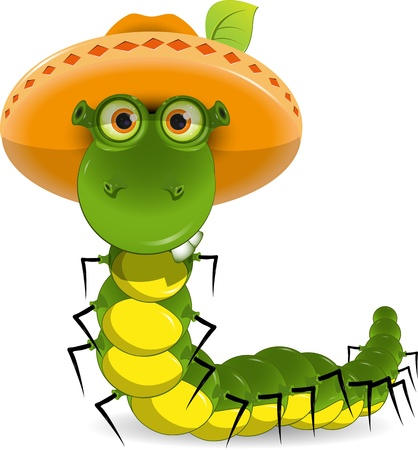 worm cartoon: illustration of a green caterpillar with a hat