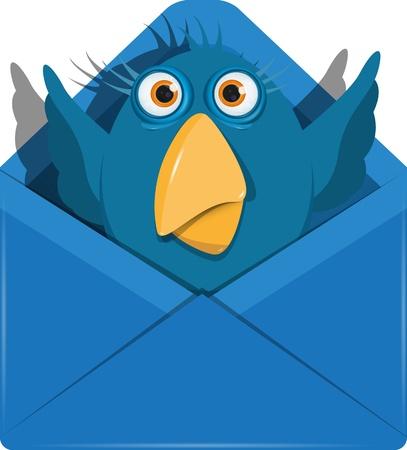 illustration of a blue bird in the blue envelope Vector