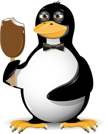 illustration of a penguin fun and ice cream Vector