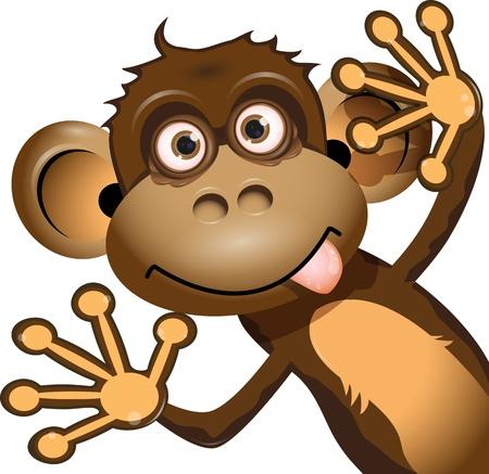 mono caricatura: ilustración de un mono marrón sobre un fondo blanco