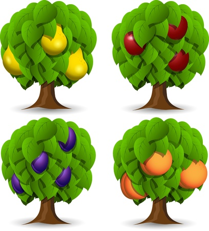 peach tree: illustration of a set of four different fruit trees