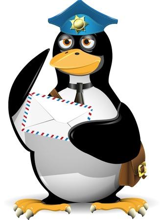 pinguino caricatura: Ping�ino con una carta a juicio del cartero Vectores