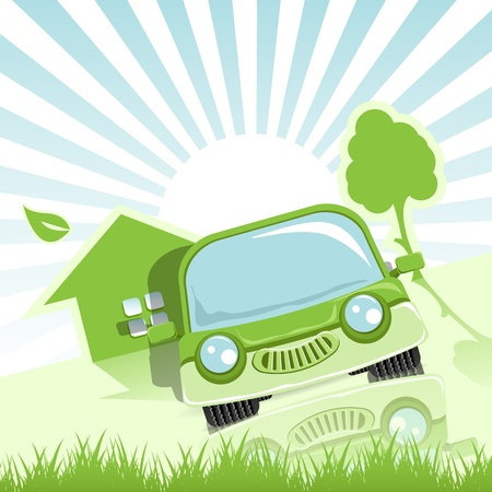 clean home: abstract illustration of a green car and tree Illustration
