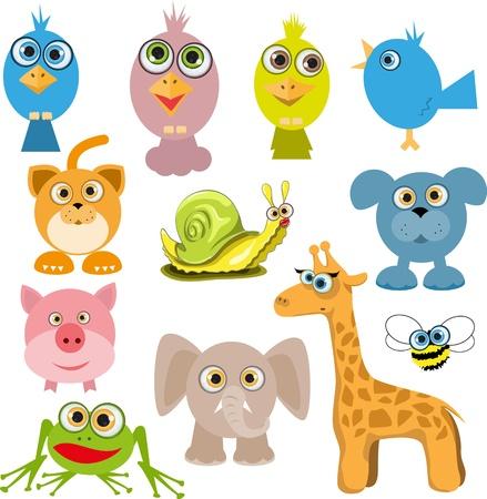 illustration of a set of various cartoon animals